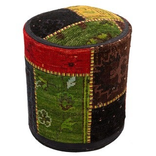 Patchwork Multicolor Wool Upholstered Pouf Ottoman
