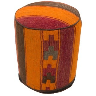 Striped Abstract Wool Upholstered Pouf Ottoman