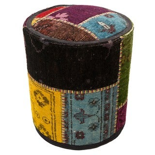 Patchwork Wool Upholstered Pouf Ottoman