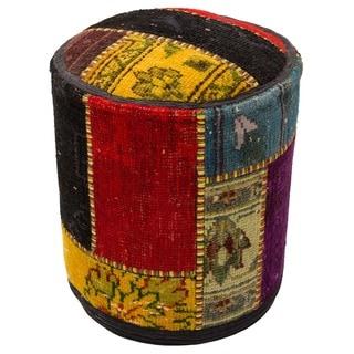 Patchwork Multicolor Wool Pouf Ottoman