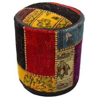 Patchwork Multicolor Wool Pouf Ottoman