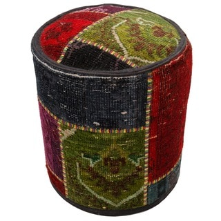 Red/ Green Patchwork Wool Upholstered Ottoman