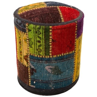 Multicolor Patchwork Wool Upholstered Pouf Ottoman