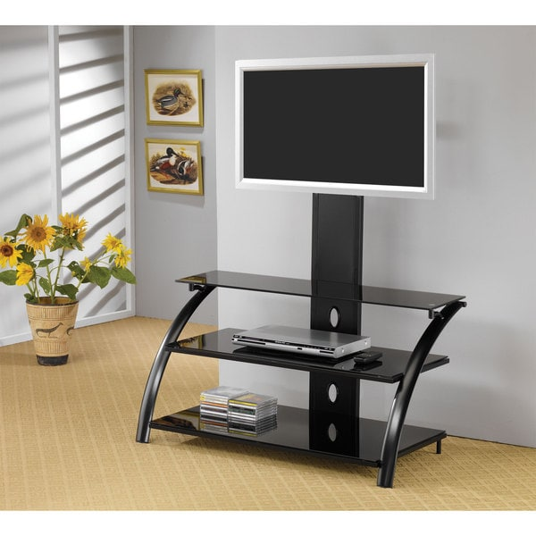 Black Metal/ Tempered Glass 42-inch TV Stand with Bracket