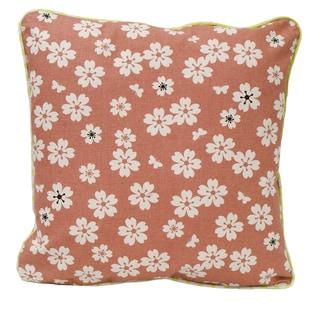 Rustic Brown Organic Cotton Flower Throw Pillow (Set of 2)