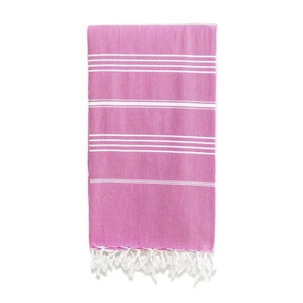 Authentic Pestemal Fouta Original Violet Stripe Turkish Cotton Bath/ Beach Towel