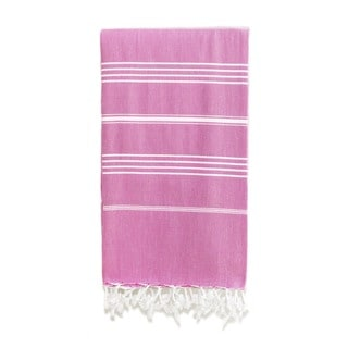 Authentic Pestemal Fouta Original Violet Stripe Turkish Cotton Bath/ Beach Towel