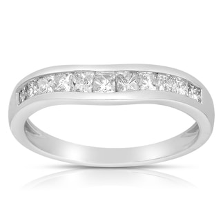 Eloquence 14k White Gold 5/8 TWD Curved Princess Diamond Wedding Band (G-H, SI1-SI2)