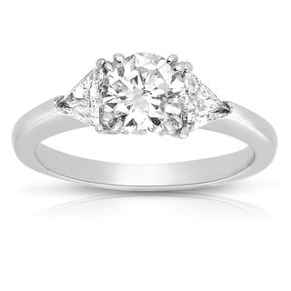 Platinum 1 3/8ct TDW Fancy Three Stone Diamond Ring (H-I, VS1-VS2)