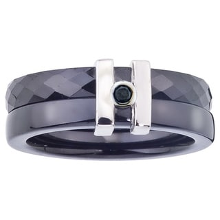 Ceramic 1/10ct TDW Black Diamond Sterling Silver Band