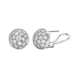 14k White Gold 1 1/3ct TDW Diamond Pave Ball Earrings (G-H, VS1-VS2)
