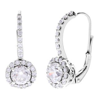 14k White Gold 2 1/4ct TDW Certified Diamond Leverback Earrings (G-H, SI1-SI2)