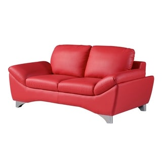 Natalie Red Bonded Leather Loveseat