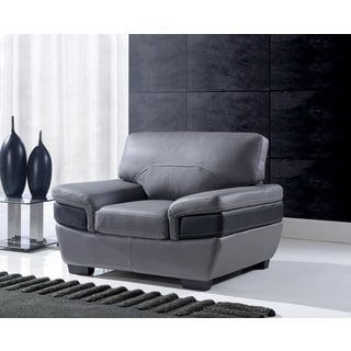 Grey/ Black Leather Chair