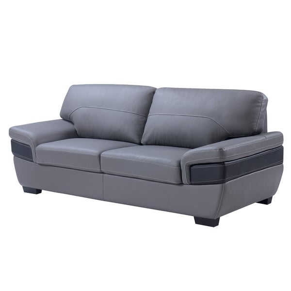 Dark Grey/ Black Leather Sofa