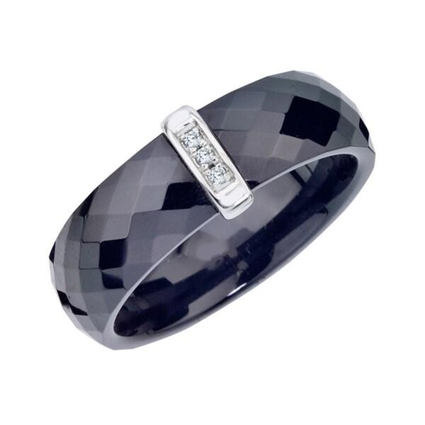 Black Ceramic Sterling Silver Single Bar Diamond Accent Band