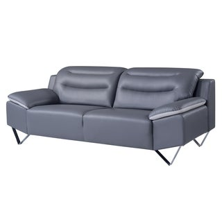 Natalie Dark Grey/ Light Grey Bonded Leather Sofa