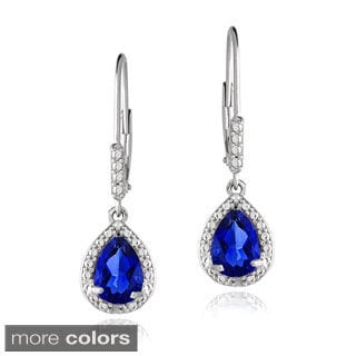 Glitzy Rocks Sterling Silver Created Gemstone and Diamond Accent Teardrop Leverback Earrings