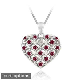 Glitzy Rocks Sterling Silver Created Gemstone and Diamond Accent Puffed Heart Locket Necklace