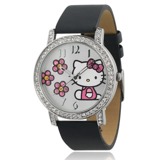 Hello Kitty Women's Rhinestone-accented Satin Faux Leather Watch