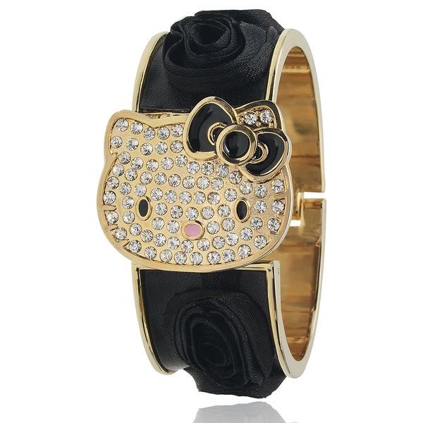 Hello Kitty Womens Goldtone Rhinestone-accented Flower Bangle Watch