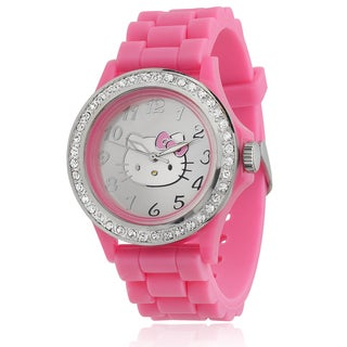 Hello Kitty Women's Rhinestone-accented Pink Silicone Analog Watch