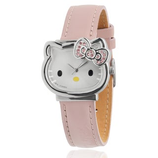 Hello Kitty Women's Rhinestone-accented Pink Faux Leather Analog Watch