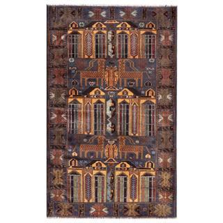 Herat Oriental Semi-antique Afghan Hand-knotted Tribal Balouchi Blue/ Beige Wool Rug (2'10 x 4'9)