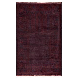 Herat Oriental Semi-antique Afghan Hand-knotted Tribal Balouchi Red/ Navy Wool Rug (2'10 x 4'5)