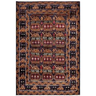 Semi-Antique Afghan Hand-Knotted Tribal Balouchi Purple/ Beige Wool Rug (3'3 x 4'4)