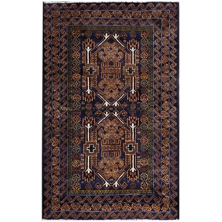 Herat Oriental Semi-antique Afghan Hand-knotted Tribal Balouchi Navy/ Gold Wool Rug (2'10 x 4'6)