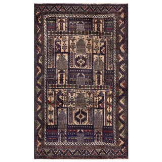 Semi-antique Afghan Hand-knotted Tribal Balouchi Purple/ Beige Wool Rug (3' x 5')