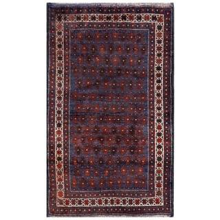 Semi-Antique Afghan Hand-Knotted Tribal Balouchi Navy/ Red Wool Rug (2'10 x 4'9)