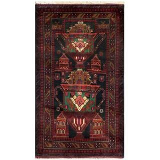 Semi-Antique Afghan Hand-Knotted Tribal Balouchi Navy/ Red Wool Rug (2'11 x 5')