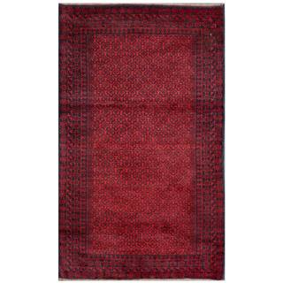 Semi-Antique Afghan Hand-Knotted Tribal Balouchi Red/ Navy Wool Rug (2'9 x 4'8)