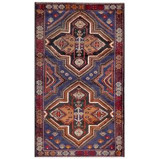 Herat Oriental Semi-antique Afghan Hand-knotted Tribal Balouchi Blue/ Beige Wool Rug (2'10 x 4'10)
