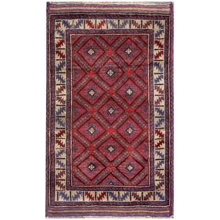 Semi-Antique Afghan Hand-Knotted Tribal Balouchi Red/ Beige Wool Rug (2'8 x 4'5)