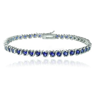 Glitzy Rocks Sterling Silver Created Blue Sapphire S Design Tennis Bracelet