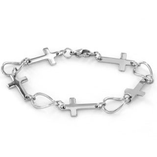 ELYA Stainless Steel Sideways Cross Link Bracelet