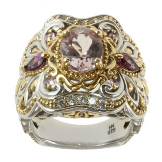 Michael Valitutti Two-tone Morganite, Rhodolite, Pink Sapphire and White Sapphire Ring