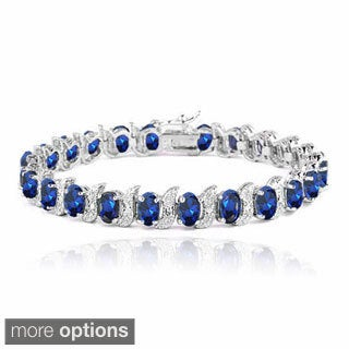 Glitzy Rocks Sterling Silver Created Gemstones and Diamond Accent Bracelet