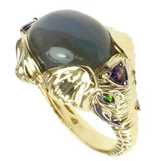 Michael Valitutti Two-tone Labradorite, Amethyst and Chrome Diopside Elephants Ring