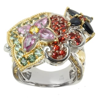 Michael Valitutti Two-tone Multi-colored Sapphire Flowers Ring