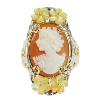 Michael Valitutti Two-tone Cameo, Carved Shell Flower and Pink Sapphire Ring
