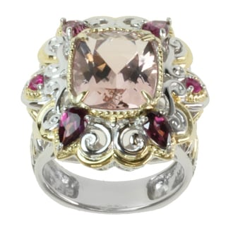 Michael Valitutti Two-tone Morganite, Rhodolite and Hot-pink Sapphire Ring