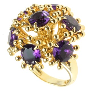 "Michael Valitutti/ Kristen Gold over Sterling Silver Amethyst ""Moving Flower"" Ring"