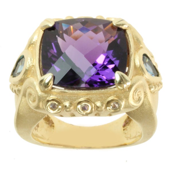 Michael Valitutti Gold over Sterling Silver Amethyst, London Blue Topaz and White Sapphire Ring