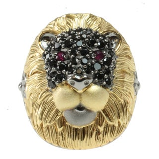 "Michael Valitutti Two-tone Black Spinel and Ruby ""Lion"" Ring"