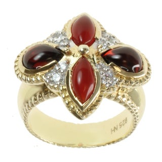 Michael Valitutti Gold over Sterling Silver Garnet, Carnelian and White Sapphire Ring