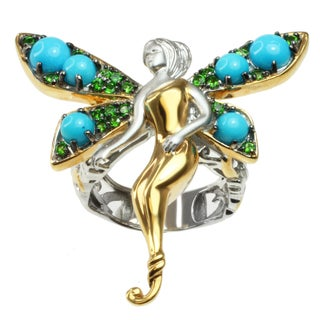 Michael Valitutti Two-tone Sleeping Beauty Turquoise and Chrome Diopside 'Fairy' Ring